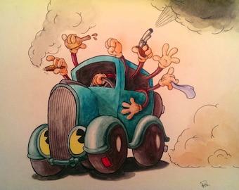 Vaudeville Runaway - Original Watercolor