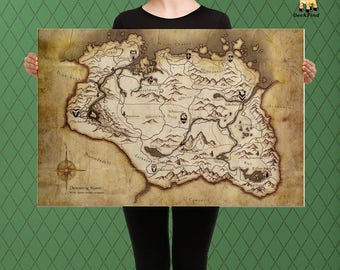Elder Scrolls Inspired, Skyrim, Complete Map of Skyrim Custom Raised Canvas