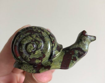 Carved Snail Dragon Blood Jasper 65mm 66g