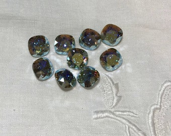 6 pieces 4470 Chrysolite Opal AB 8mm Swarovski Crystal Square Cushion Cut