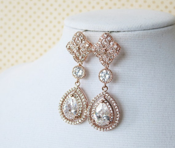 Rose Gold Teardrop Deluxe Cubic Zirconia Teardrop Earring, Chandelier earrings, vintage halo style Rose Gold long Bridal earrings, wedding