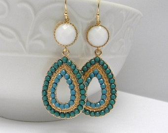 Turquoise Statement Earrings / Turquoise Earrings / Dangle Earrings / Gold Earrings / Bold Summer Statement Earrings / Long Dangle Earrings
