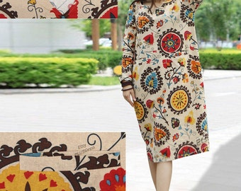 Anysize V-neck with double Pockets cotton&linen dress plus size dress plus size clothing Spring Summer Clothing summer dress Y45