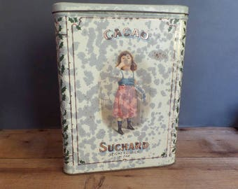 Vintage very large metal tin box Suchard chocolate cocoa powder  Little girl