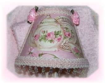 Chic PINK Teapot Roses Guest Towel and Night Light Gift SET