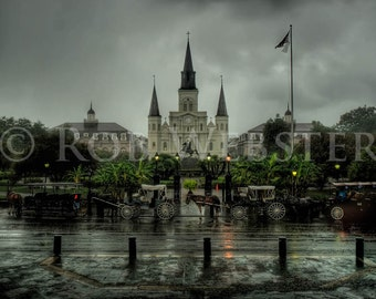 St Louis Cathedral in the Rain, Jackson Square, New Orleans, HDR 8x10 Fine Art Print