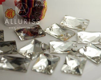 18mm x 25mm, 12pcs, Clear Crystal Rectangle, Sew on crystal stone flatback
