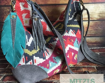 SHIPS TODAY Aztec Slouchy Hobo w/ Gray Leather, Feather & Crossbody Strap