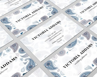 Paisley Business Card, Business Card Design, Vintage Card, Card Template, Calling Card, Graphic Design, Paisley Design, Brand Card