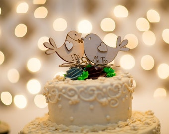 Bird Cake Topper Rustic Wedding I Do Me Too Love birds