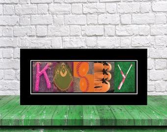 Letter Name Art Softball Gift, Personalized Softball Sign, Softball Player Gift, Team Mom Gift, Gift for Softball Player, Dorm Room Decor