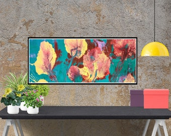 Giclee canvas print, Flowers Abstract art, original painting, blue red canvas, living room wall art, canvas modern art, acrylic original art