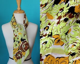 1950s Vintage Green&Gold Floral Silk Scarf/Silk Scarf Gift for Mom/Gifts for Mom/Beautiful Summer Silk Scarf/Gift for Her