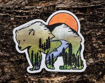 Bear Necessities – Bear Stickers, Vinyl Sticker, Animal Stickers, Outdoor Stickers, Mountain Stickers, Nature Stickers, Watercolor Stickers