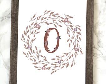 Monogram Letter O Printable, FloralMonogram Letter O Printable, Letter O Wall Art, Letter O Printable, Monogram Printable, Initial Print