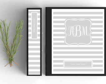 Monogram Binder Cover-Personalized Binder Inserts and Spines (8.5x11in)- Printable Binder Covers-Editable