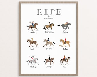 RIDE Horses Art Print // Whimsical Illustration Horses Pony Equestrian Hand Lettered Type Animals Fun Poster // by Paper Pony Co.