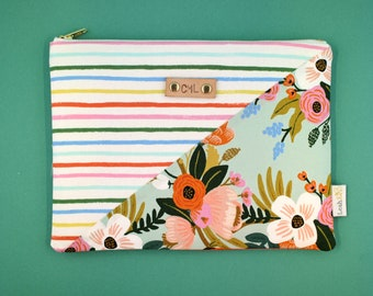 spring clutch, rifle paper co pouch, mother's day gift, small makeup pouch, personalized pouch, stripe floral clutch, gift for mom