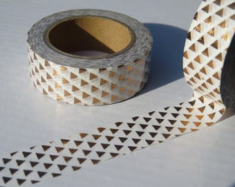Copper- Rose Gold Foil Triangles Washi Tape - 15mm x 10 Metres Roll
