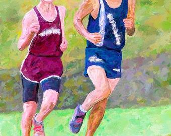 Cross Country Runners Canvas Fine Art Print