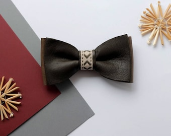 Mens Brown and Khaki italian leather bow tie with symbol ribbon Christmas gift Latvian necktie