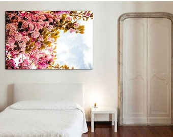 Spring floral photography print, pink wall decor, large wall print, pink wall print - Floral Canvas Wall Art