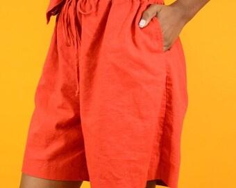 Vintage Adjustable Red Linen Drawstring Shorts