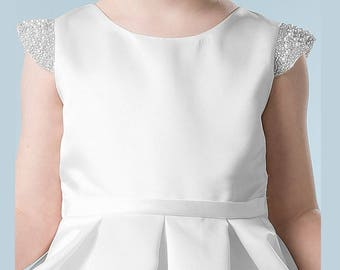 Dress first communion girl satin pearls - dress for formal or party girl in white satin with pearls France mid calf length