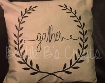 Gather Throw Pillow, Home Decor, Pillow Case, Gather, Rustic, Rustic Home Decor, Farmhouse, Farmhouse Decor