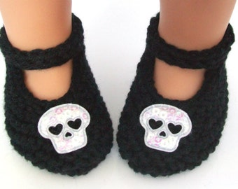Skull Baby Booties - Hand Knit Soft Newborn Baby Shoes with Iridescent Skulls - Black Peruvian Pima Cotton - Skull Baby Girl Shower Gift