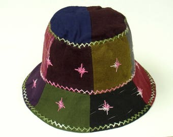 Hippie Sun Hat Girl women Bucket Travel Holiday Light Hat Patchwork Embroidered Cotton Fabric Multi Color Summer Spring Hat ST07