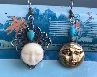 sun and moon asymmetrical upcycled earrings - 750