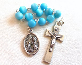 St Raphael Pocket Rosary, Archangel Raphael, Single decade rosary, Blue pocket rosary, One decade rosary, Confirmation gift