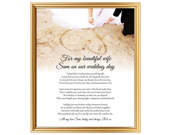 Gift For Best Friend On Wedding Day: Unique Wedding Day Poem Gift For Bride From Groom To Bride