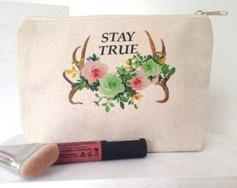 Fair Trade Pouch, Organic Cotton Makeup Bag, Large Makeup Bag, Boho Makeup Bag, Makeup Bag, Modern Makeup Bag, Feminist Makeup Bag, Persist