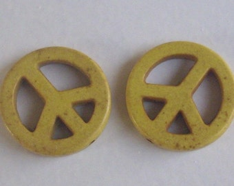 "2 yellow howlite beads ""Dragon"""