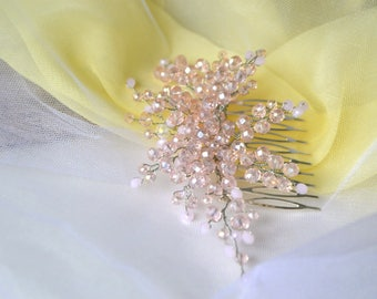 Pink comb Comb crystal Pink crystal Wedding comb Wedding accesorias Handmade accesorias Hair accesorias
