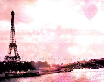 Paris Photography, Pink Eiffel Tower Baby Girl Nursery, Eiffel Tower Hot Air Balloons, Paris Pink Prints, Paris Wall Art Print, Paris Photos
