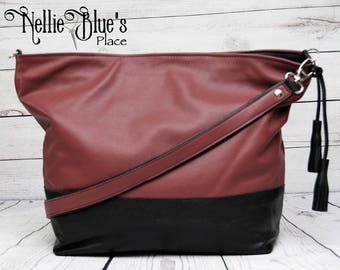 CUSTOM Leather East-West Tote Bag, Large Tote Bag, Leather Bag, Leather Shopper, Handmade Leather Bag, Zipper Top Tote