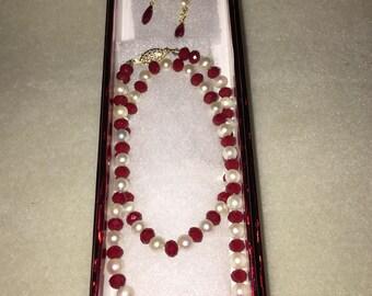 Ruby Gemstone Necklace Set