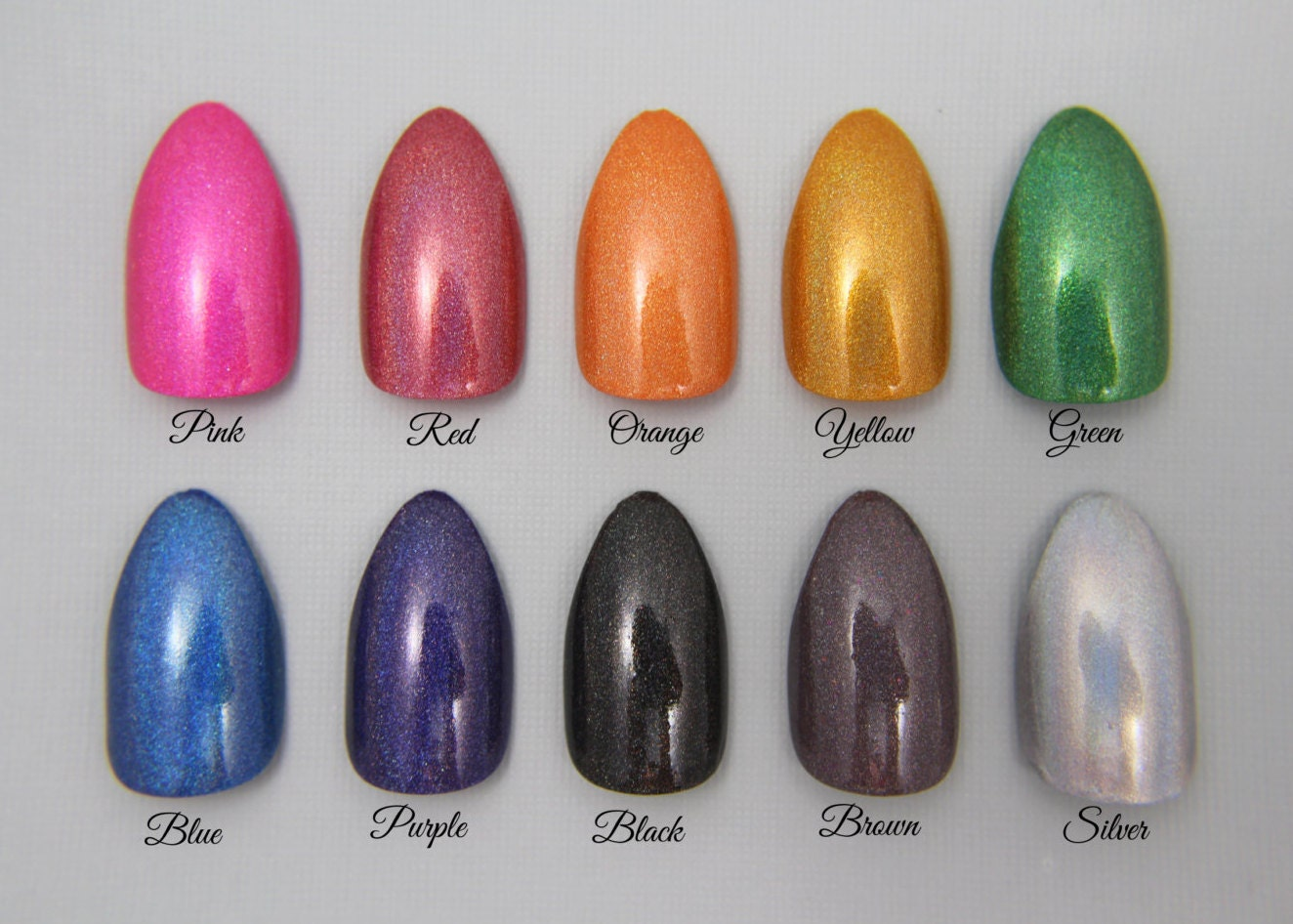 Almond Holographic Nails - You Choose The Color! | Press On Nails ...