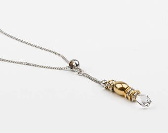 Long necklace, Swarovski Crystal and stainless steel