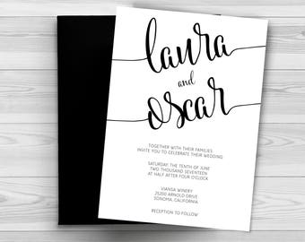 Wedding Invitation template,Wedding invite printable, Black & White Wedding Invitation, Wedding Invitation Printable, Wedding Invitation DIY