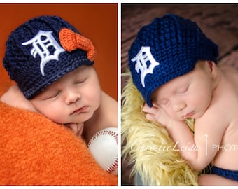 The Original- Detroit Tigers Inspired Newsboy Hat with Bow Option / Layne Couture / Newborn to Adult