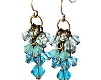 Teal Blue Cluster Earrings
