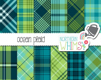 "Blue and Green Plaid Digital Paper - ""Ocean Plaid"" - plaid backgrounds / scrapbook paper in navy, mint, lime green & aqua - commercial use"