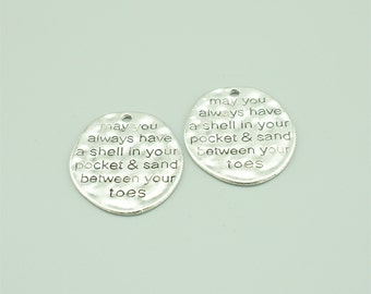 50x17mm Antique Silver May You Always Have A Shell In your Pocket & Sand Between Your Toes,Letters Pendants Z5204