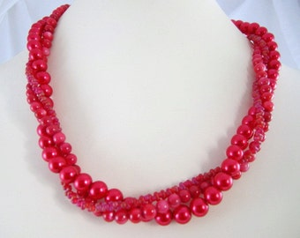 Shop CLOSING coupon SALE, Crimson Red Glass Pearl for Interchangeable Multi Strand Necklace, Holiday Red, bright red, mix or match