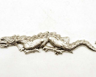 1 Oxidized Silver Stalking Dragon Stamping - 22-13-1