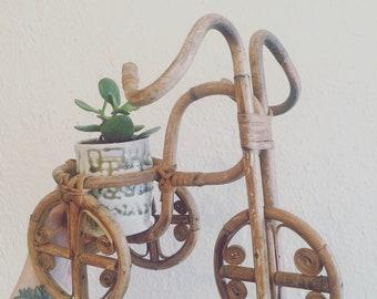 Vintage Rattan Bike Planter / Vintage Boho Bike Planter / Vintage Bicycle Planter